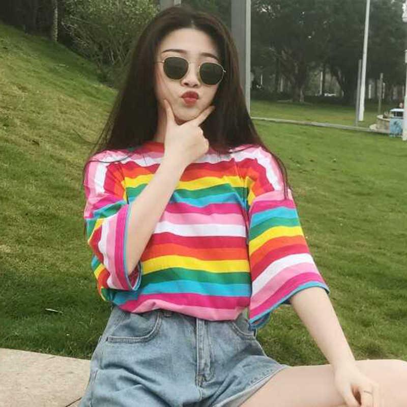แฟชั่นเสื้อใหม่ผู้หญิงสายรุ้งลายเสื้อ Harajuku TShirt แขนสั้นเกาหลีแฟชั่นเสื้อยืด