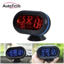 4 в 1 Цифровой автомобиль часы термометр батарея вольтметр напряжение метр тестер мониторы Серебристые часы температура для автомобилей