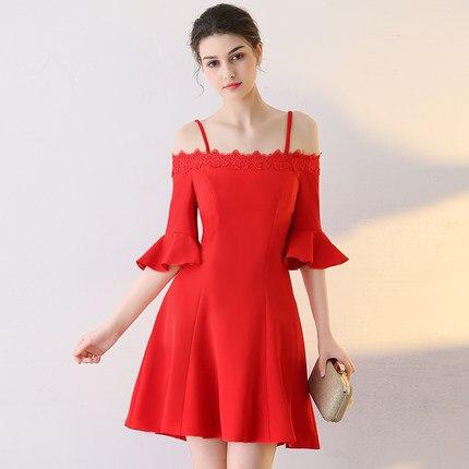 Red Short Prom Dresses 2017 Spaghetti Straps Off the Shoulder Half ...