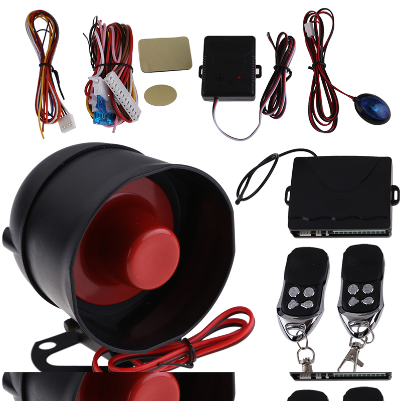 Anti theft  burglar alarm New 1-Way Auto Car Alarm Protection Security System With 2 Remote Control security alarm em library security equipment book theft alarm system with free solution design