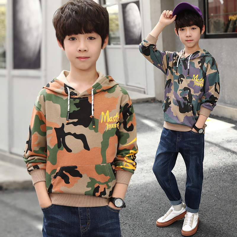 цена на Teenager Boy Sports Suits Autumn Long Sleeve Hooded Print Sweatshirt + Pant 2pcs Tracksuit Brand Children Clothing Big Boys 9 14