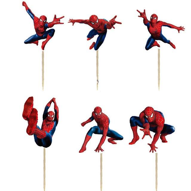 24 Uds dibujo de Spider-Man fiesta Cupcake torta Toppers selecciones niños suministros de fiesta de cumpleaños decoraciones de la boda torta taza
