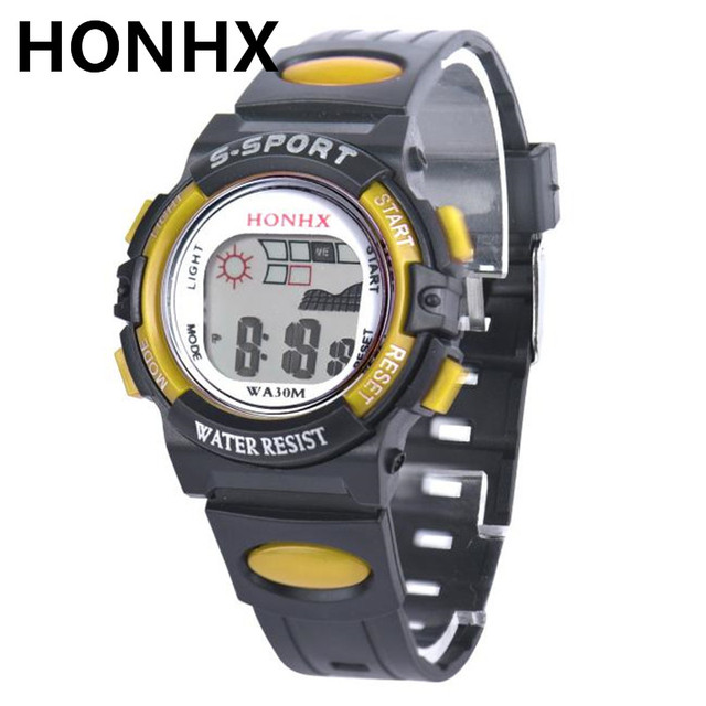 Top Brand HONHX Cool Waterproof Children Boys Digital LED Sports Watch Kids Alar