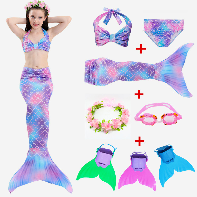 2019 New!kids Children Mermaid Tails With Monofin Fin Fancy Costume Bikini Bathing Suit Dress For Girls Swimsuit Set Suit