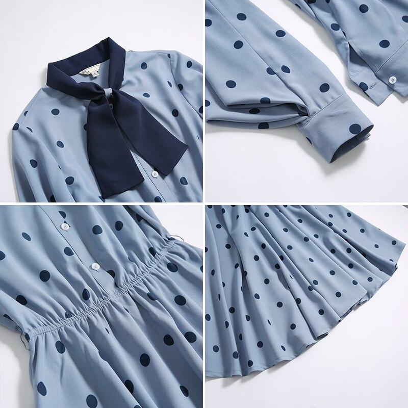 Femmes vague point robe offre spéciale à manches longues patchwork a-ligne courte robe décontracté femmes printemps été robes - 3