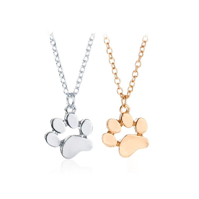 24 Pcs/Lot Cat Paw Gold/Silver Color Unisex Fashion Jewelry Dog Paw Women Necklace Trendy Animal Party Bulk Wholesale