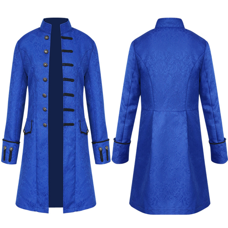 Mens Tailcoat Jacket Steampunk Gothic Trench Coats Vintage Victorian Uniform Costume Long Coat Outwear