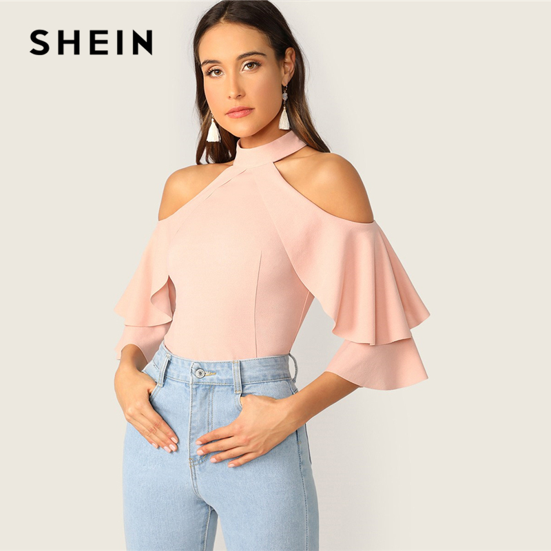 SHEIN Elegant Pastel Pink Ruffle Halter Cold Shoulder Layered Bell Sleeve Top Blouse Women Spring Slim Fit Sexy Party Blouses