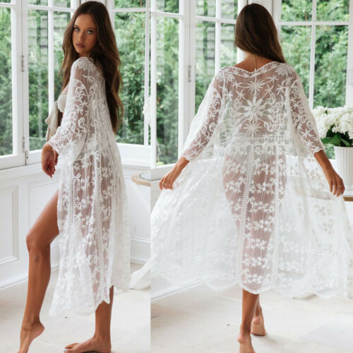 See-through Women Lace Kimono Beach Blouses Woman Cardigan Cover Up Wrap Long Blouse 2019 NEW Arrival