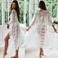 Прозрачные женские кружевные кимоно, пляжные блузки, женский кардиган, накидка, Длинная блузка, 2019 новое поступление - фото