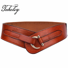 Wide Hasp Women Waist Retro Belt Elastic Waist Leather Belt for Women Leather Cummerbunds Female Belts