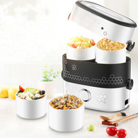 MINI Stew Rice Cooker Steamer Heating Electric Thermal Lunch Box 4 Ceramics Food Container Warmer Meal Heater Lunchbox 1.5L