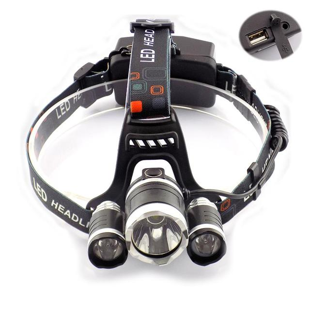 Ultra Bright Led Head Light Lamp 5000 lumens Headlamp USB Port Cree 3* T6 Outdoor Frontal Flashlight For Fishing Hunting Cycling