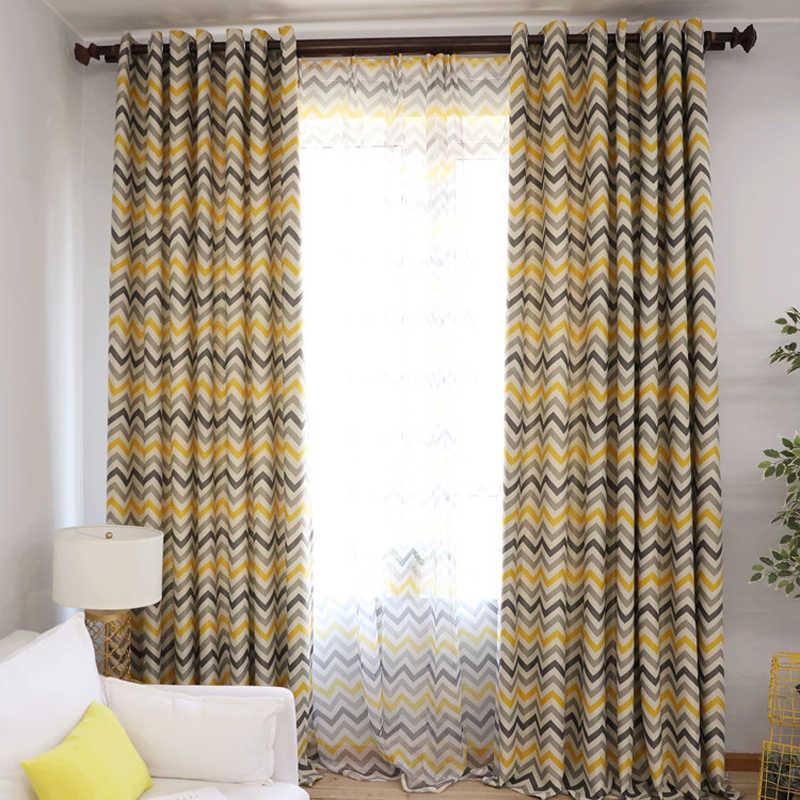 Желтые полосатые плотные шторы с рисунком жалюзи для гостиной современные оконные занавески для спальни детские шторы для свадьбы WP275D