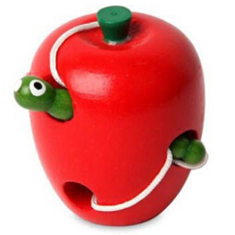Small Size Early Learning Educational Toy Carpenterworm Eating Apples And Pears And Watermelons Model Puzzle Threading Toys