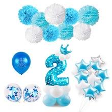 Huiran 2nd Happy Birthday Balloons 2 Party Decor Kids Girl Boy Two Year Latex Baloon Number Ballon Babyshower