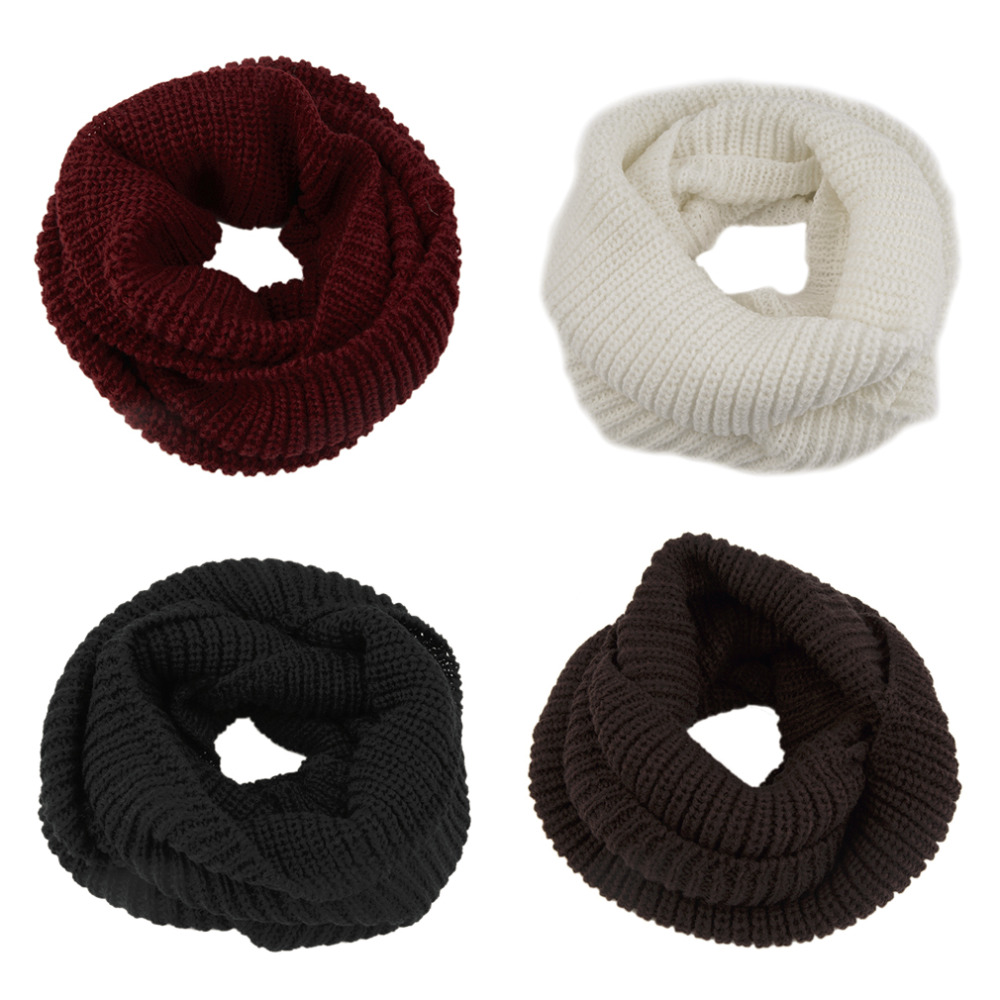 Women's Winter Soft Warm 2 Circle Cable Knit Cowl Neck Long Scarf Shawl Girl wool Scarf Clothing Accessories