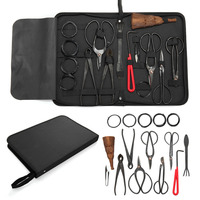 10Pcs Bonsai Pruning Tool Set Carbon Steel Extensive Multifunctional Cutter Scissors Shear Kit With Nylon Case For Garden Tools