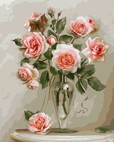 MaHuaf X604 Pink Rose Flowers Canvas Painting By Numbers Painting Diy Picture Hand Painted Oil Painting