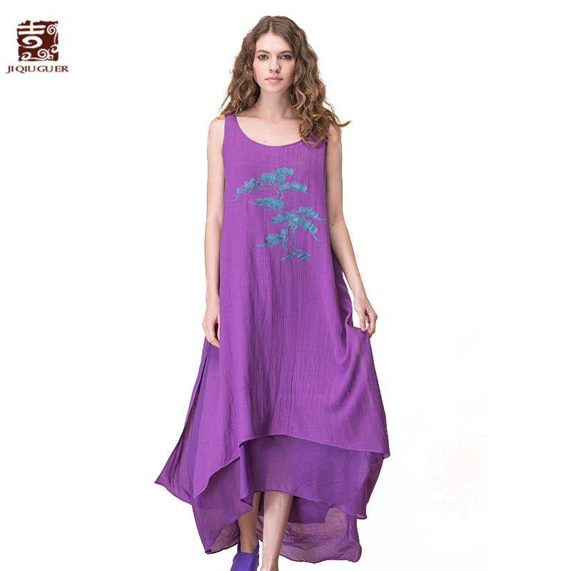 JIQIUGUER Women Embroidery Maxi Beach Dress Plus Size O-Neck Sleeveless Loose Long Summer Dress Casual Lady Vestidos G172Y013 summer embroidery ruffled round neck dress loose robe dress