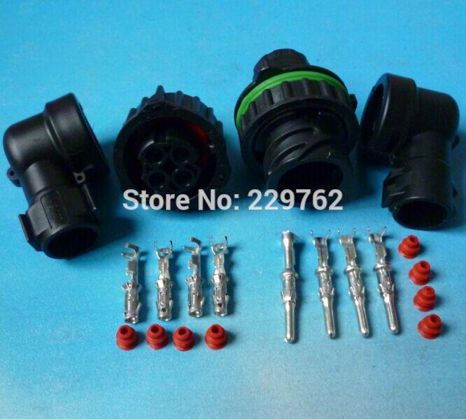 imágenes para 5 conjuntos de 4 Pin 1-967402-1/1-967325-3 Auto Sensor de enchufe conector con funda para exploración de petróleo del coche ferroviario conector Redondo