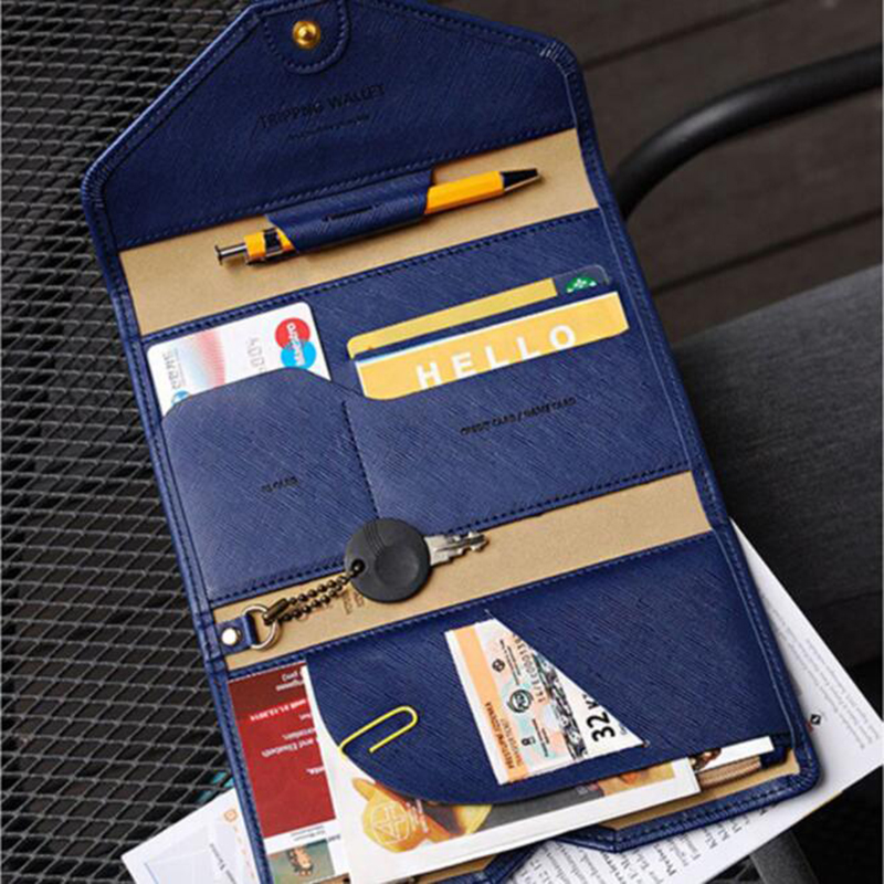 Fashion Travel Passport Cover Foldable Credit Card Holder Money Wallet ID Multifunction Documents Flight Bit License Purse Bag