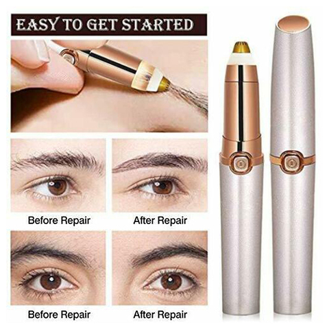 Portable Eye Makeup Care Electric Eyebrow Trimmer Lipstick Brows Pen Hair Remover Painless Eyebrow Razor Epilator with LED Light Lahore