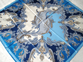 Estípite moda Flores Imprimir Mujeres Bufanda de Seda Azul Colores Surtidos Mano Roll-Cercado de Sarga de Seda Infinito Chal Cuadrado