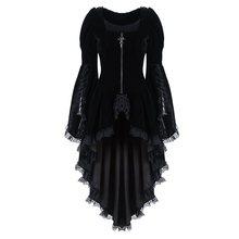 Otoño elegante de talla grande parte gótica Chic blusa larga mujer rojo Delgado cremallera encaje liso blusas moda Vintage femenina Goth camisas
