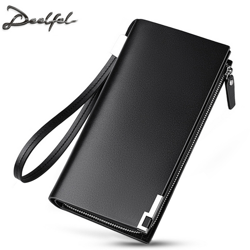 DEELFEL Genuine Leather Men Wallets Long Purse Business Male Wallet Multifunctional Zipper Clutch Bags Card Cash Holder Coin все цены