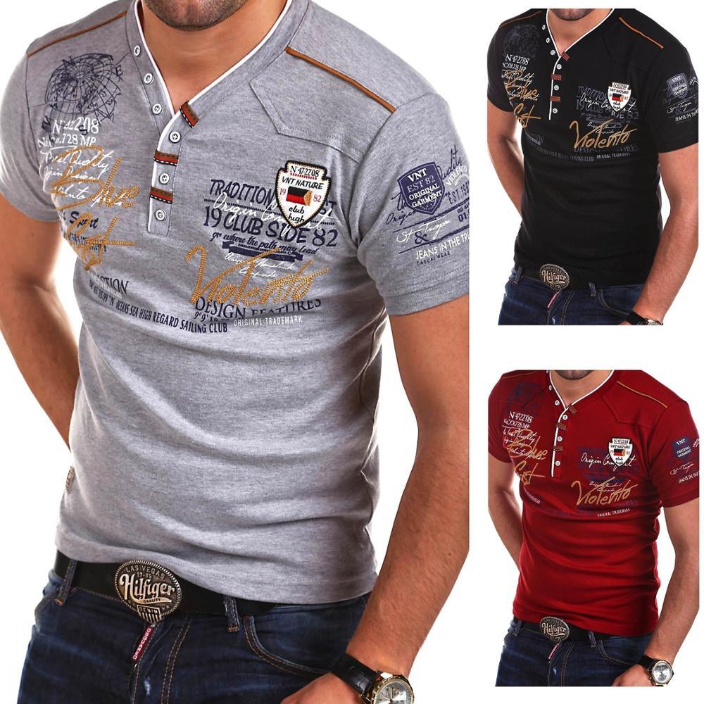 Zogaa 2019 marque vêtements solide couleurs col en V hommes t-shirt hommes mode t-shirts Fitness décontracté pour hommes lettres imprimé Hip Hop