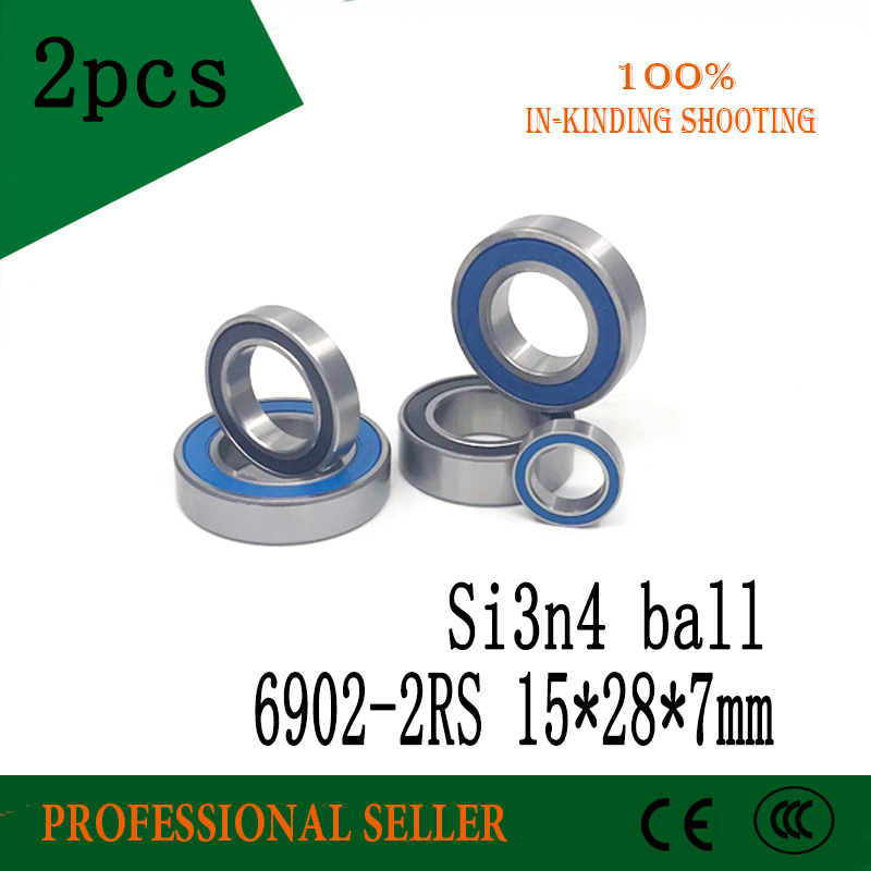 Free shipping 2pcs <font><b>6902</b></font>-<font><b>2RS</b></font> 15X28X7mm <font><b>bearing</b></font> steel hybrid ceramic ball <font><b>bearings</b></font> <font><b>6902</b></font> <font><b>2RS</b></font> 15*28*7mm Si3N4 bike part 6902RS image