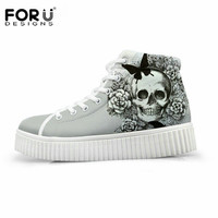 FORUDESIGNS Women High Top Height Increasing Flat Shoes Punk Skull Print Platform Shoes Female Casual Flats Shoes Zapatos Mujer