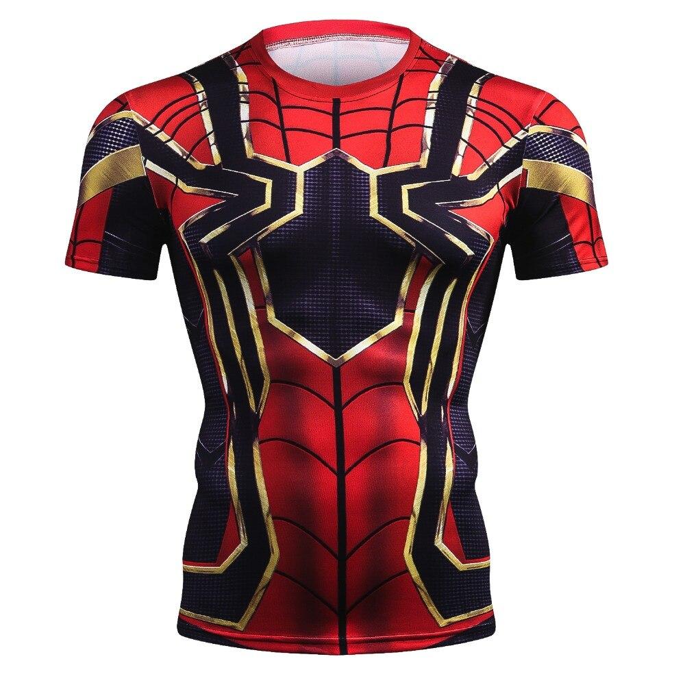 Nuevo verano 3D hierro Spiderman camiseta hombres Marvel Avengers hombres camiseta Compression Crossfit manga corta marca camiseta Tops y camisetas