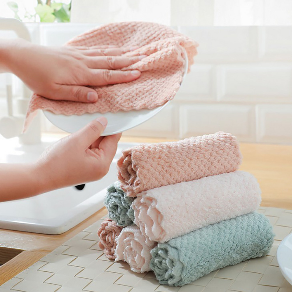 6 Tips To Using Coral In The Kitchen: Home Kitchen Cleaning Rag, Clean Stains Nonstick Oil Coral