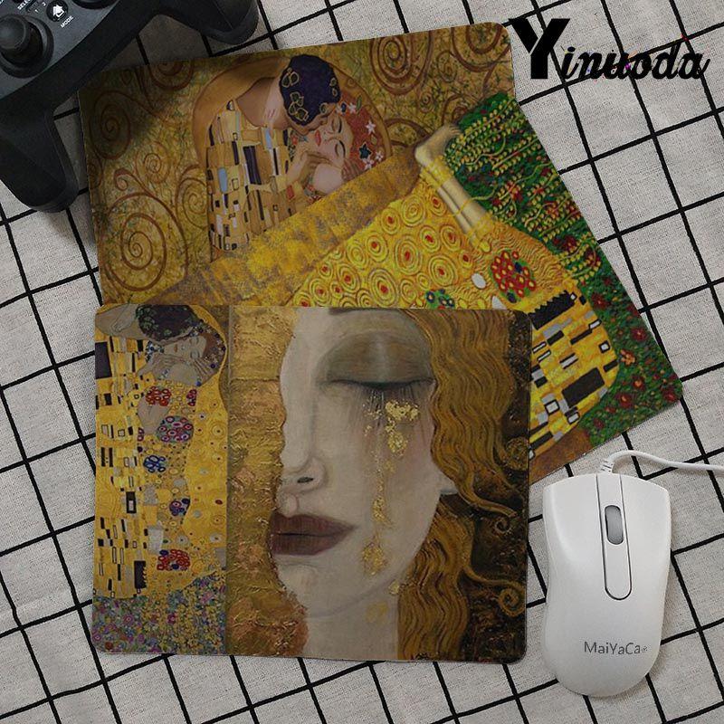 Yinuoda The Kiss Gustav Klimt Art Painting Rubber Mouse Durable Desktop Mousepad Rubber PC Computer Gaming Mouse Pad Desk Mat