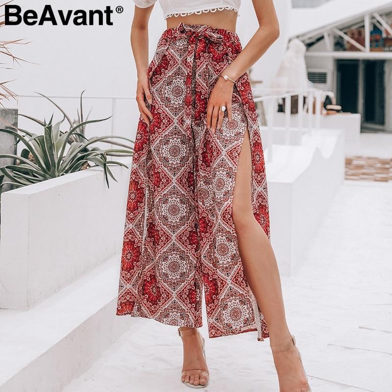 BeAvant Floral print boho women casual   pants   High waist summer   wide     leg     pants   Loose split beach trousers female   pants   capris red