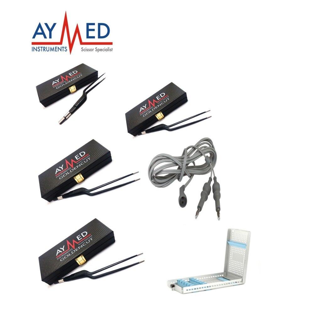 где купить Electrosurgical 4 non stick bipolar forceps 5 cables 2 micro scissors 3 pincet electro surgical instruments дешево