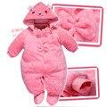 Бесплатная доставка! Retail-1pcs 2015 зимой дети милый кролик толщиной хлопка-ватник мальчик / девочка новорожденный младенец мягкая ползунки комбинезоны