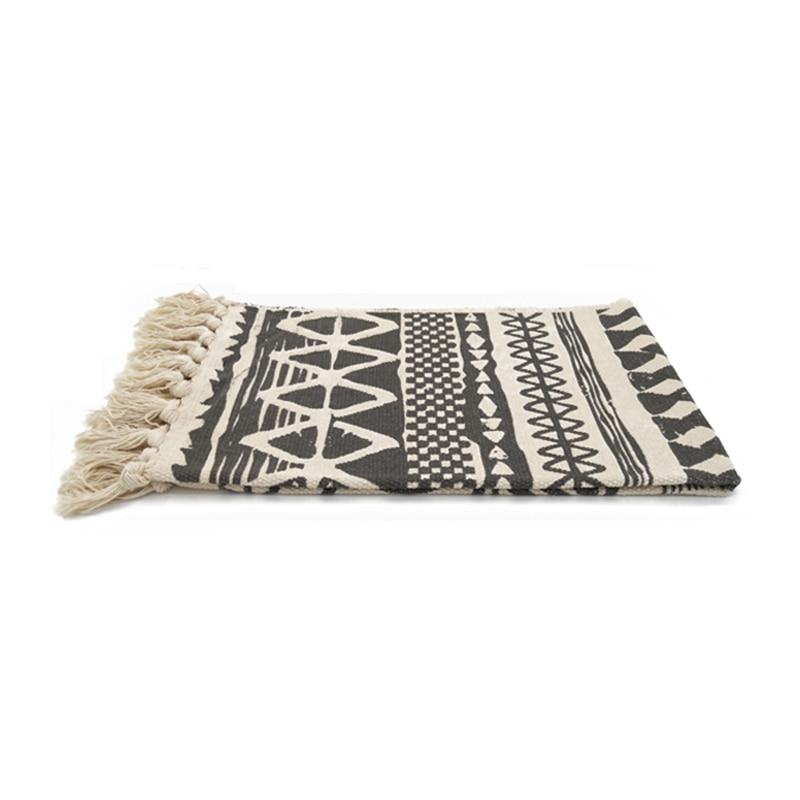 Black And White Geometric Lattice Tassel Design Handmade