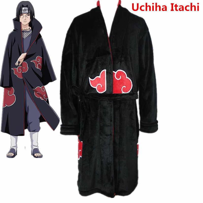 Naruto nuevo Akatsuki Uchiha Itachi Cosplay trajes de algodón Albornoz  pijamas monos adulto Unisex invierno cálido c1f442f8af6