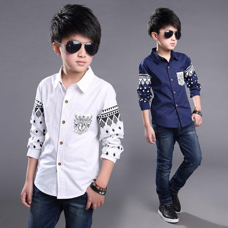 Boys Shirts Cotton Fashion Children Clothing High Quality School Uniform Shirt 2017 Brand Boy