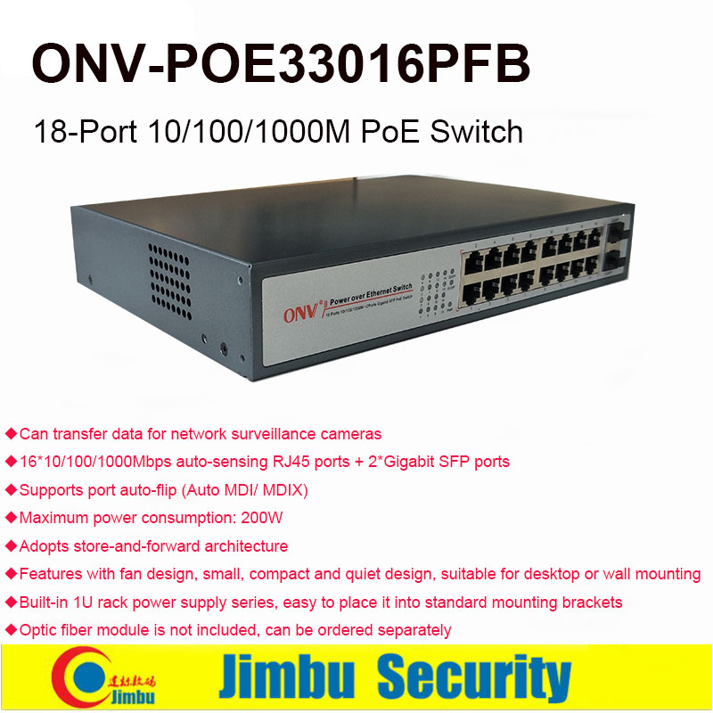 PoE Switch ONV POE33016PFB 16*10/100/1000M Copper Cable RJ45 Ports(all Ports Support MDI/MDIX) + 2*Gigabit SFP Ports