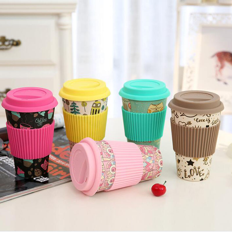 30pcs Novelty Bamboo Fiber Powder Mugs Coffee Cups Milk Drinking Cup Travel Gift Eco Friendly ZA6742