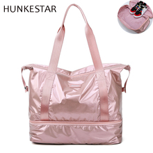 2019 brand Pink sliver black oxford Sport Gym Bag Travel Duffel with Shoe Compartment Dry Wet Separation Layer for Women