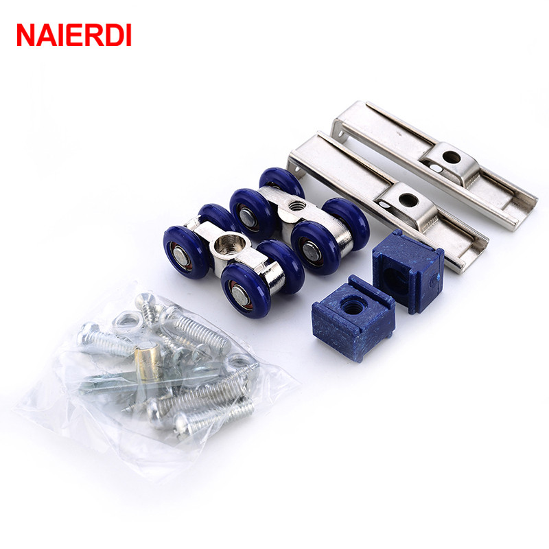 NAIERDI Blue Light Sliding Door Roller Home Room Wood Door Hanging Wheels Bear 30KG  Zinc Alloy +Door Rollers Furniture HardwareNAIERDI Blue Light Sliding Door Roller Home Room Wood Door Hanging Wheels Bear 30KG  Zinc Alloy +Door Rollers Furniture Hardware