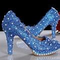 new arrival super-elevation princess pumps, Beautiful blue lace wedding Bridal shoes party high heels Bridesmaid Shoes