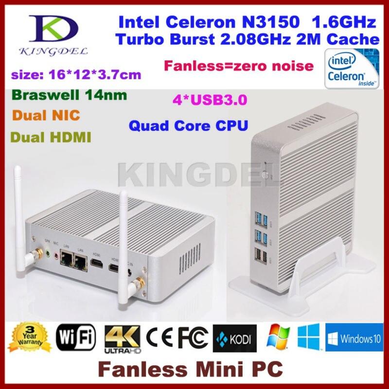 Kingdel Micro Desktop PC Intel 14nm Quad Core N3150 CPU Fanless Business Mini PC Ultra-low-power Nettop Dual HDMI Dual LAN WIFI