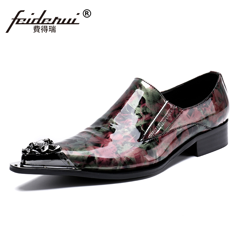 Plus Size Elegant Handmade Man Wedding Party Loafers Metal Tipped Patent Leather Pointed Toe Slip on Men's Runway Shoes SL87 недорго, оригинальная цена