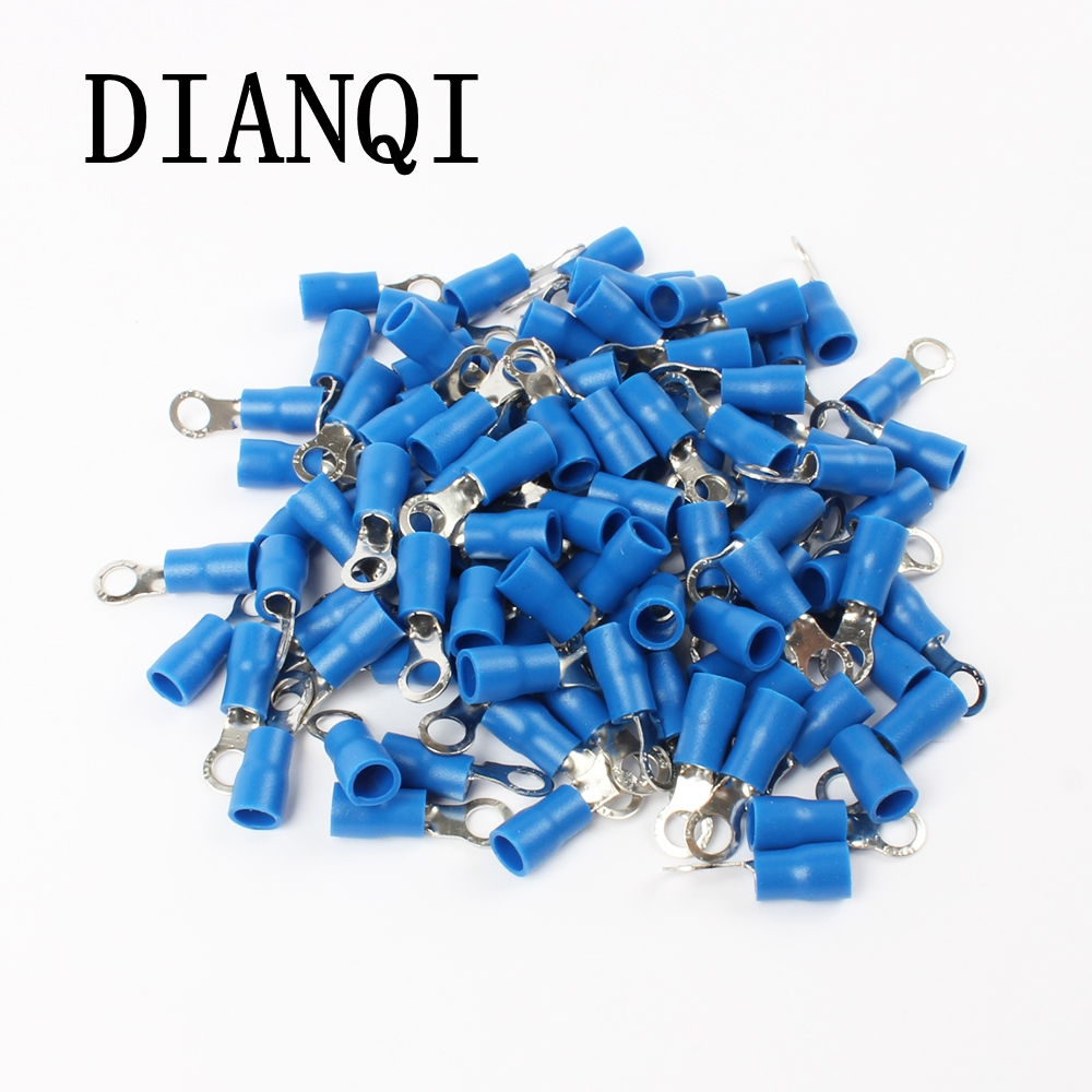 RV2-4 Blue Ring Insulated Wire Connector Electrical Crimp Terminal Cable Wire Connector for 1.5-2.5mm2 100PCS/Pack RV2.5-4 RV 15pcs a w g 14 6 copper cable lug tube wire crimp terminal ring connector 88a